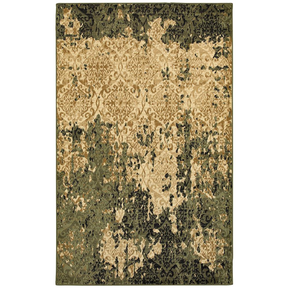 Matrix Ivory/Dark Green Rectangle 7 ft. 9 in x 9 ft.