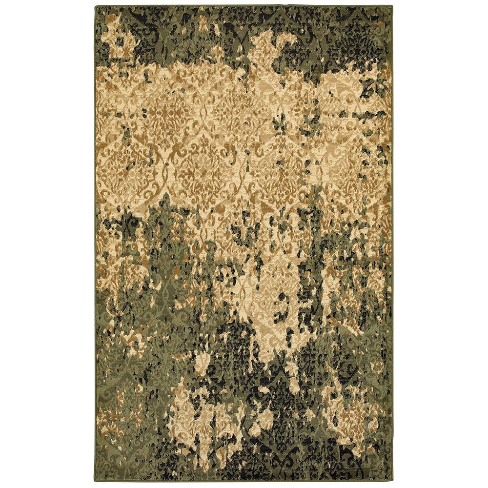 Matrix Ivory/Dark Green Rectangle 8 ft. x 9 ft. Indoor Area Rug