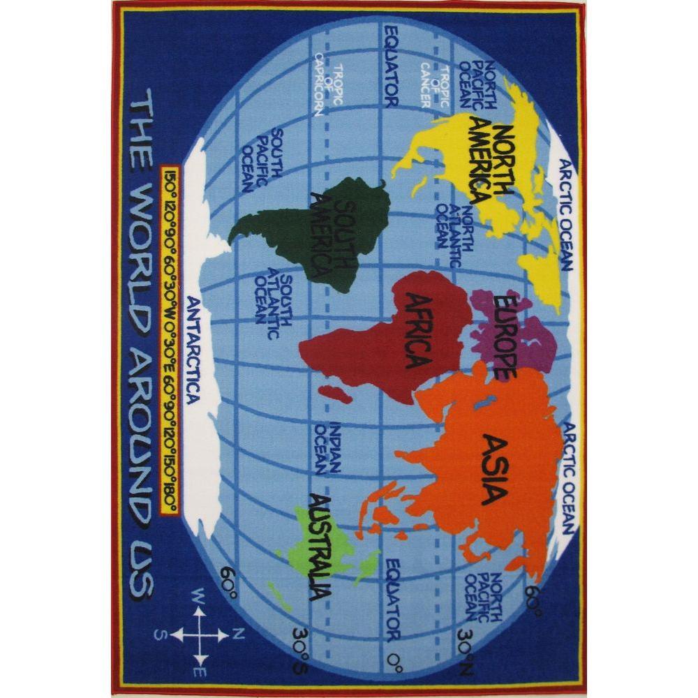 La Rug Fun Time Kids World Map Multi Colored 5 Ft X 8 Ft Area Rug