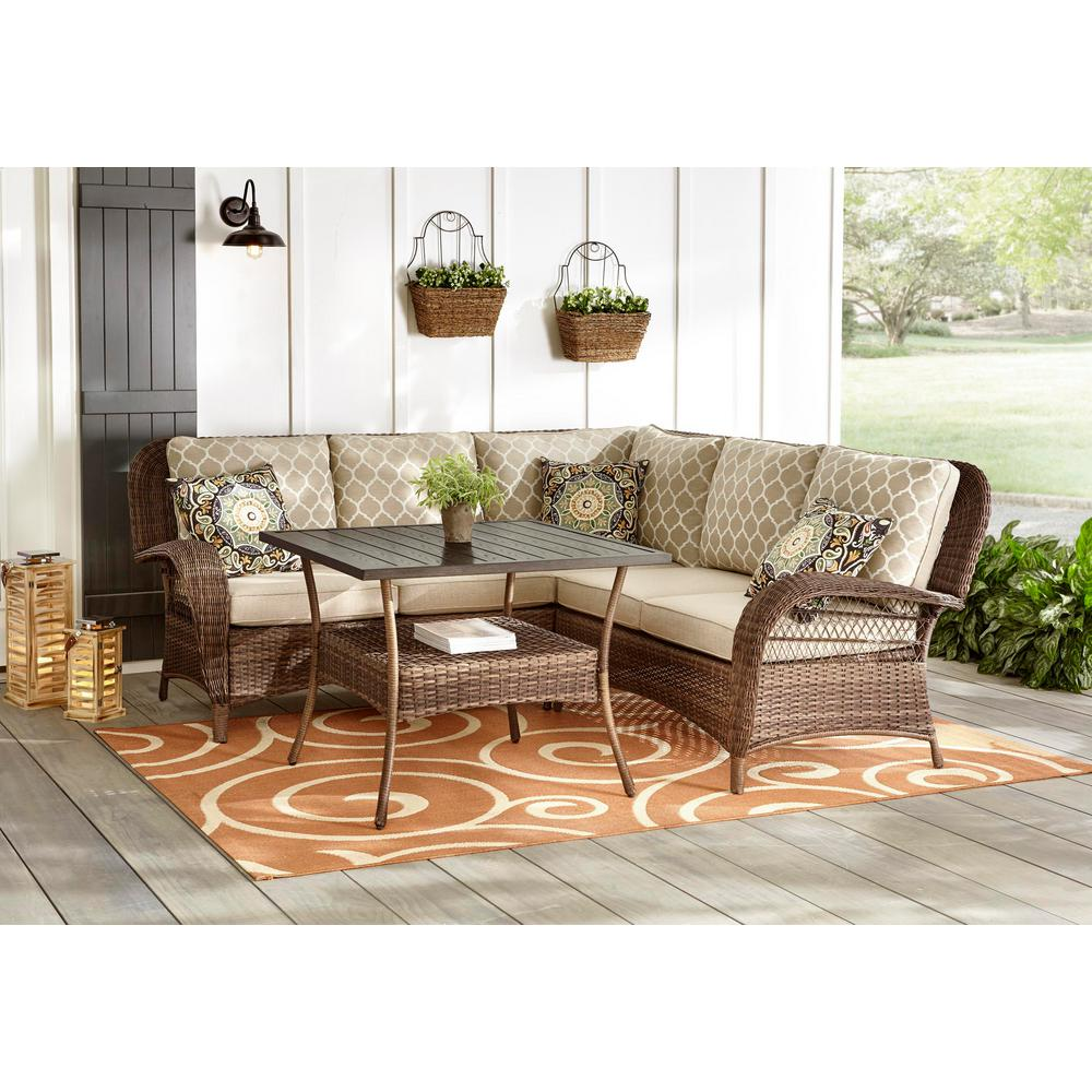 Hampton Bay Beacon Park 4-Piece Steel Brown Wicker Outdoor Sectional Sofa  with Toffee Cushions and Slat Top Table