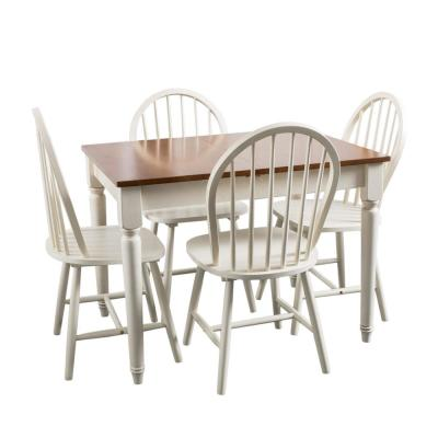 Roseville 5-Piece White and Dark Oak Dining Set