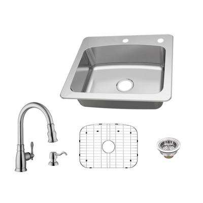 All-in-One Dual Mount 18-Gauge Stainless Steel 25 in. 2-Hole Single Bowl Kitchen Sink with Pull-Out Kitchen Faucet