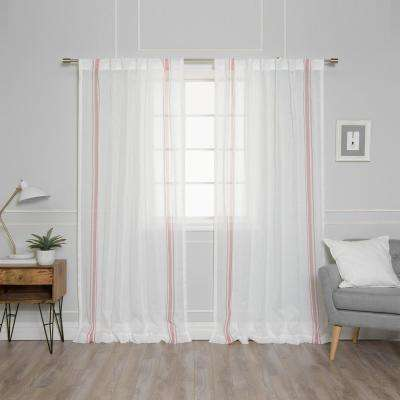 84 in. L Sheer Faux Linen Pink Triple Stripe Curtains in Ivory (2-Pack)