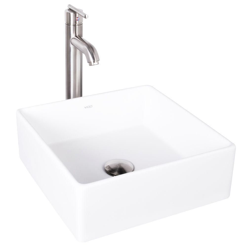 VIGO Dianthus Matte Stone Vessel Sink and Seville Bathroom Vessel ...