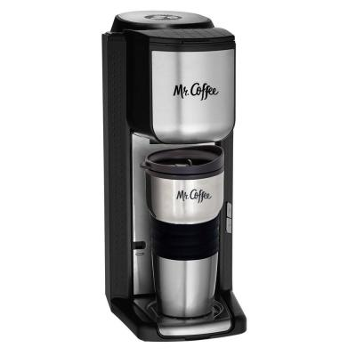Black Stainless Steel Single Serve Coffee Maker with Built-in Grinder and Travel Mug
