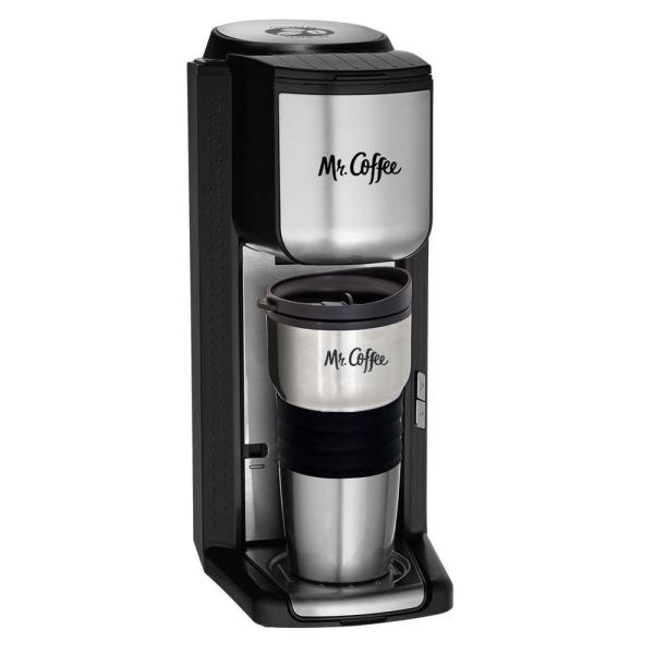 Mr. Coffee Black Stainless Steel Single Serve Coffee Maker with Built-in
