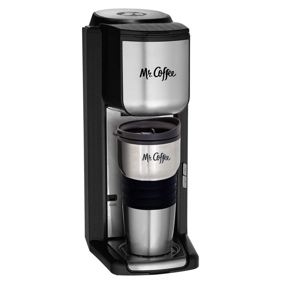 Mr Coffee Single Serve Coffeemaker With Built In Grinder And Travel Mug Included
