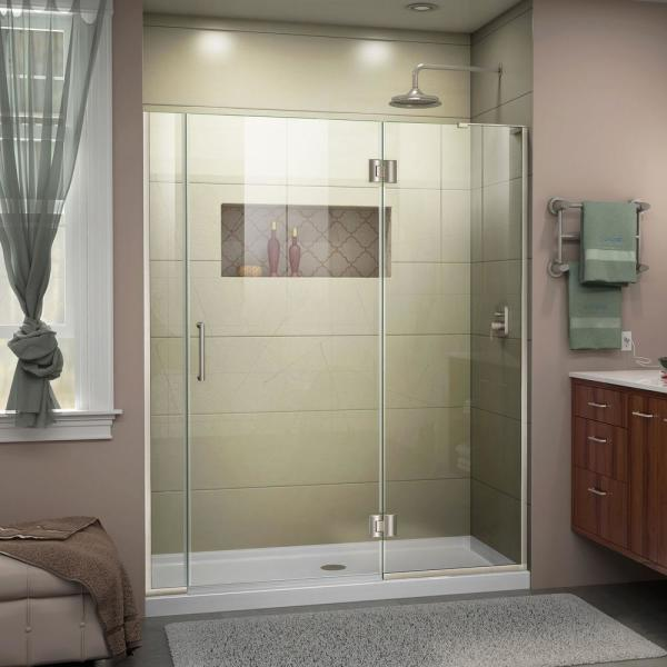 Unidoor-X 58 to 58.5 in. x 72 in. Frameless Hinged Shower Door in Brushed Nickel