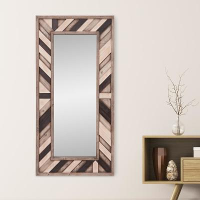Rustic Wood Plank Rectangular Decorative Mirror
