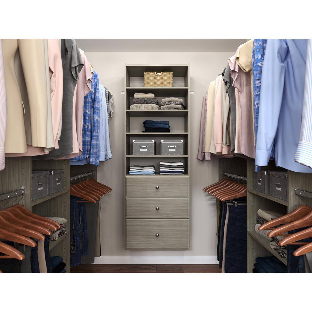 Premier 25 in. W Rustic Grey Wood Closet Tower