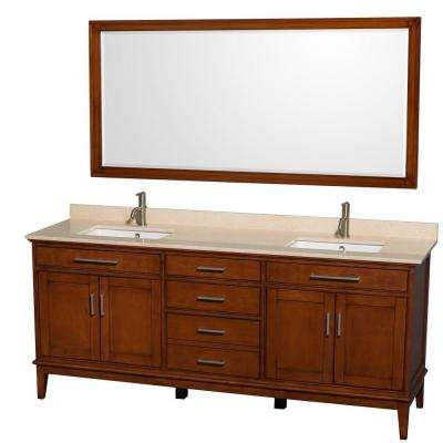 Hatton 80 in. Vanity in Light Chestnut with Marble Vanity Top in Ivory, Square Sink and 70 in. Mirror