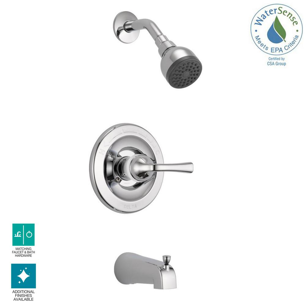 Delta foundations single handle 1 spray tub and shower faucet in chrome valve