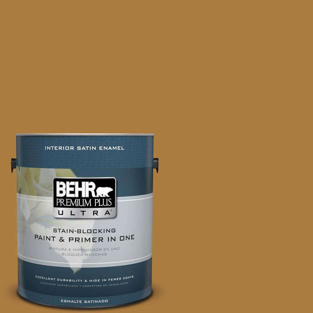 BEHR Premium Plus Ultra 1-gal. #300D-6 Medieval Gold Satin Enamel Interior Paint