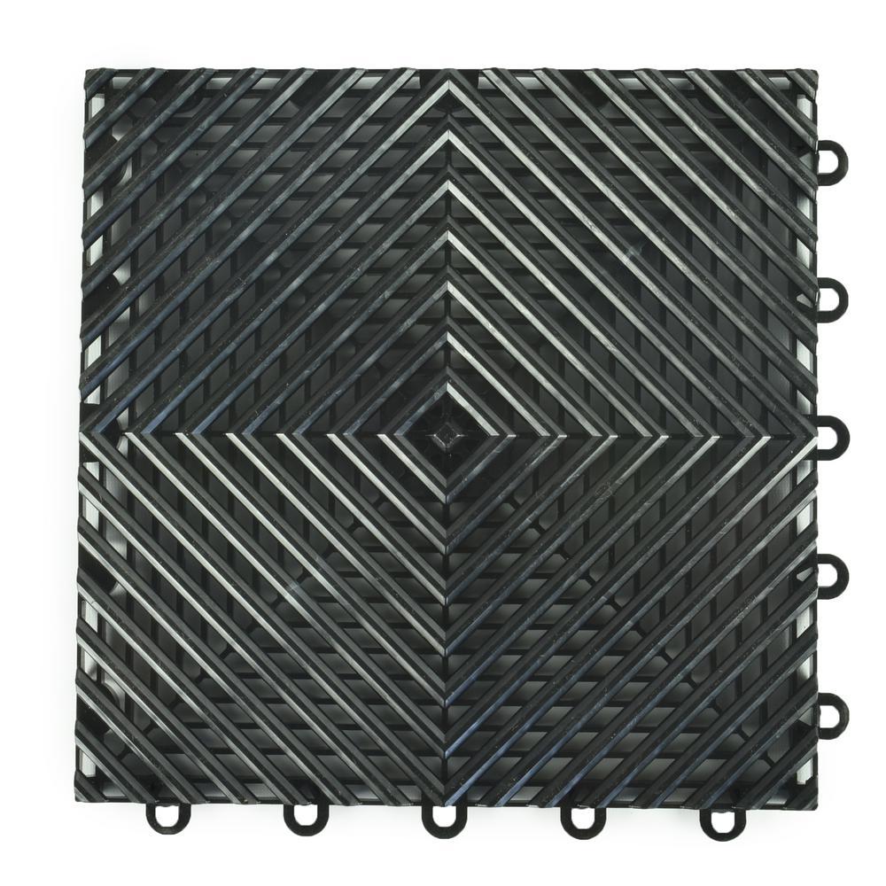 Perforated Click 12-1/8 in. x 12-1/8 in. Black Plastic Garage Floor Tile (25-Pack)