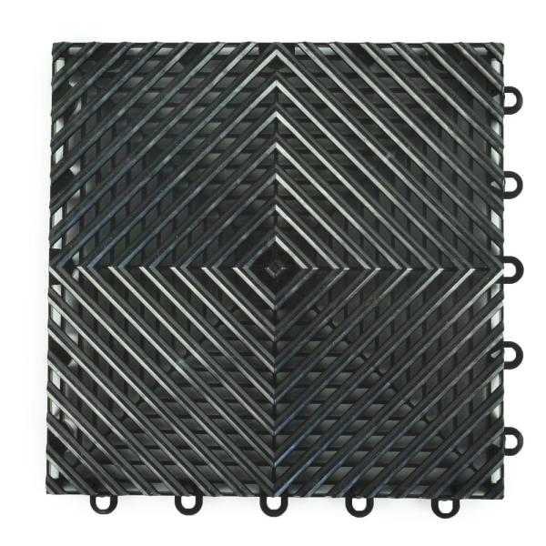 Perforated Click 12-1/8 in. x 12-1/8 in. Black Plastic Garage Floor Tile (25-Pack)
