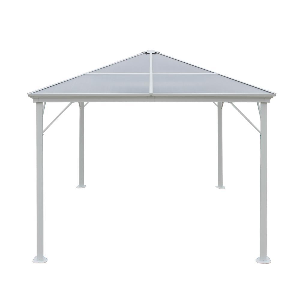 9.84 ft. x 9.84 ft. White Aluminum-Framed Canopy Gazebo