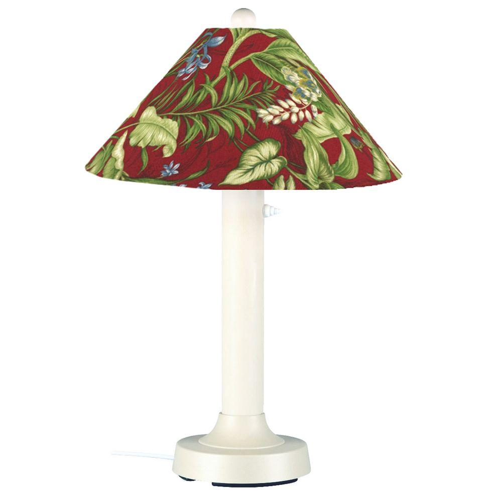 Patio Living Concepts Seaside 34 in. Outdoor White Table Lamp with Lacquer Shade