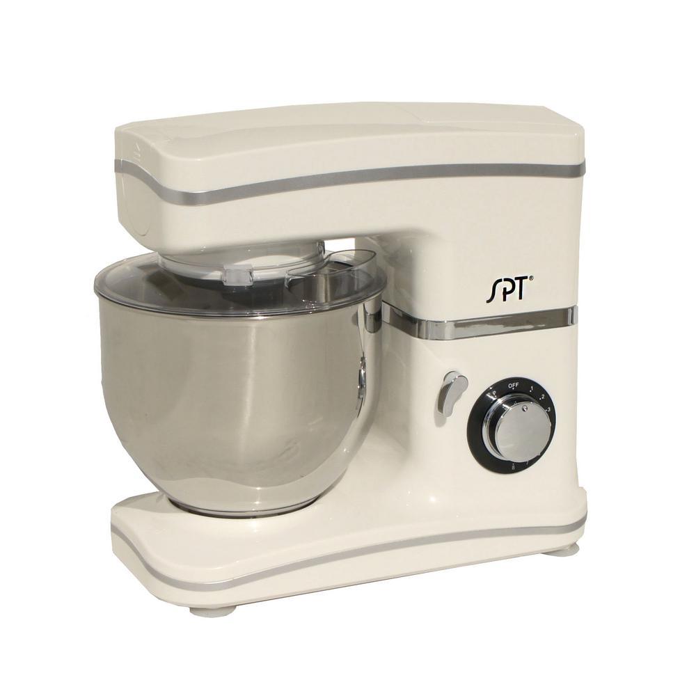 SPT 5.5 Qt 8-Speed Tilt Head White Stand Mixer by SPT