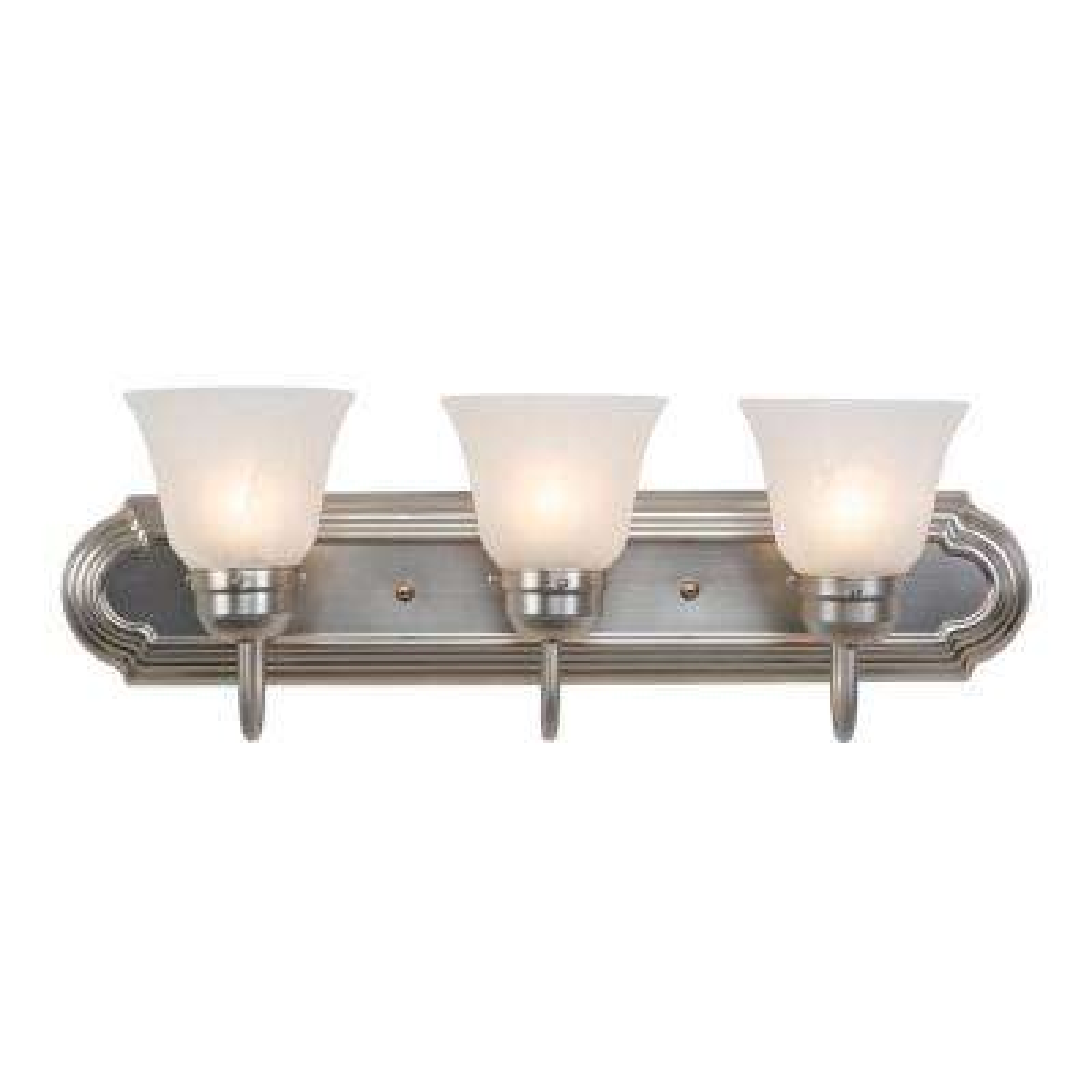 Vanity Lighting Family 3-Light Satin Nickel Frame Bathroom Vanity Light with Alabaster Glass Shade