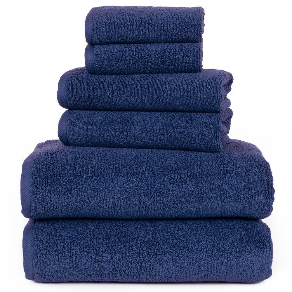 100% Egyptian Cotton Zero Twist Towel Set in Navy (6-Piece)