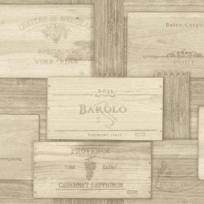 Randolph Beige Wine Boxes Paper Strippable Roll (Covers 56.4 sq. ft.)