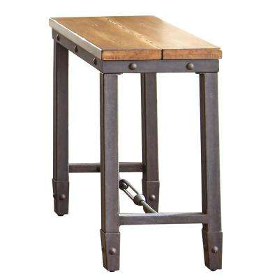 Ashford Antique Honey Pine and Iron Industrial Chairside End Table
