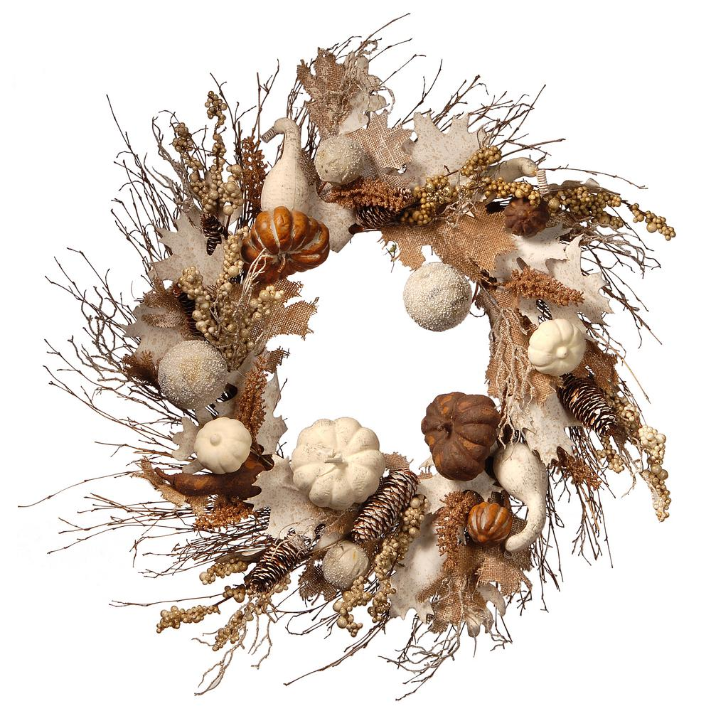 National Tree Company 28 in. White Accents Harvest Wreath