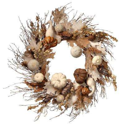 28 in. White Accents Harvest Wreath