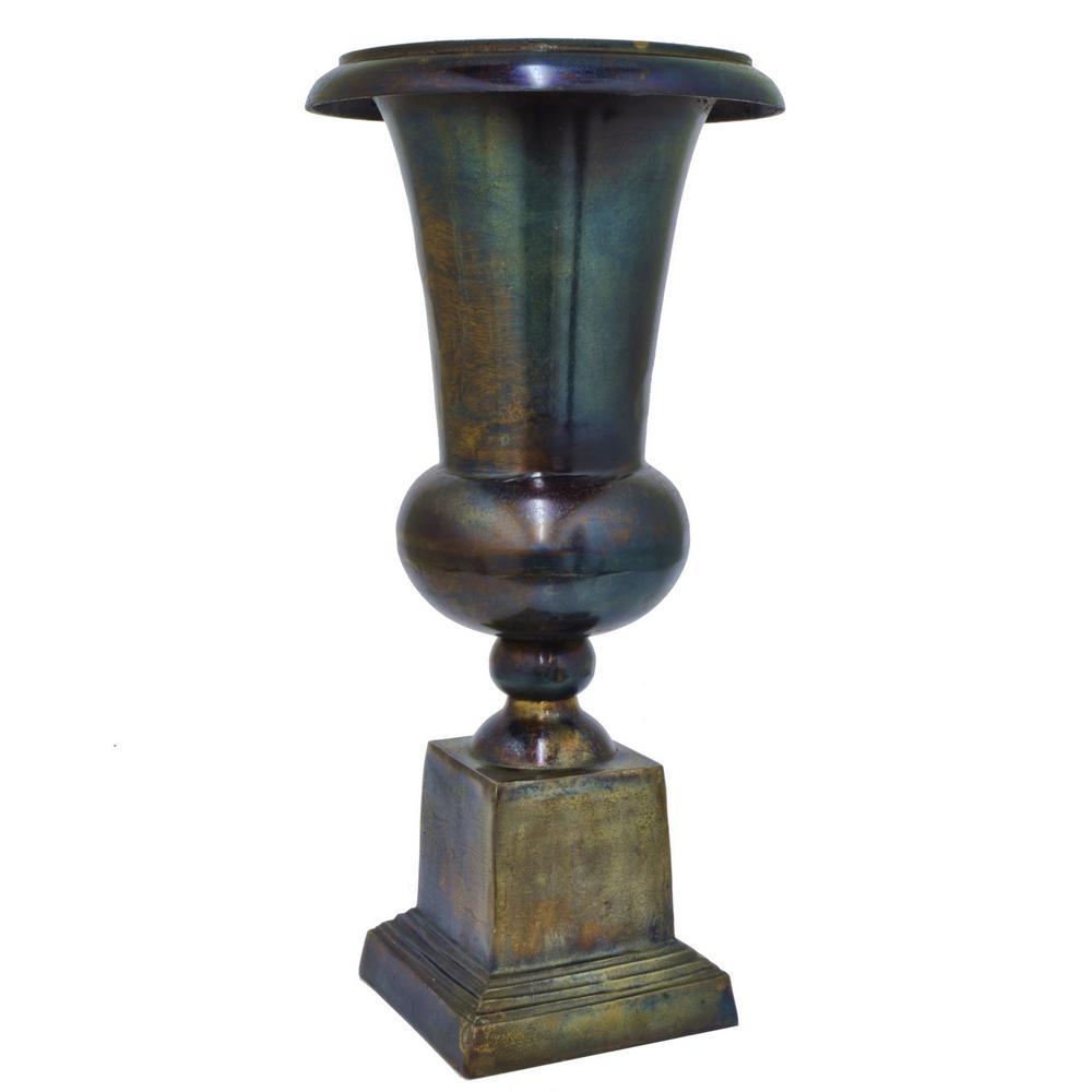 21.5 in. Metal Vase in Cobalt Blue