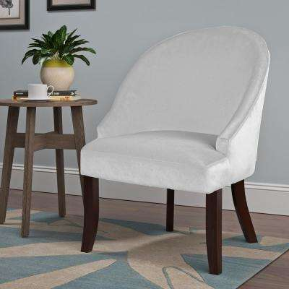 Antonio White Velvet Curved Accent Chair