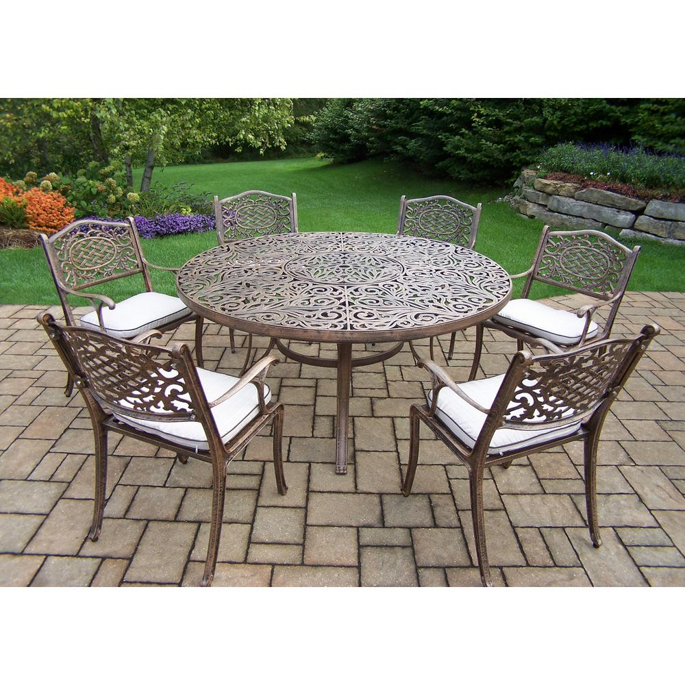 7 Piece Aluminum Outdoor Dining Set With 60 In Round Table And 6 Cushioned
