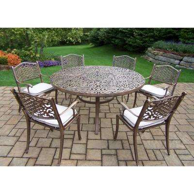 7-Piece Aluminum Outdoor Dining set with 60 in. Round Table and 6 Cushioned cast Aluminum Arm Chairs