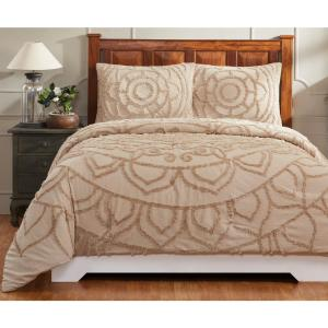 Cleo 90 in. X 90 in.  Taupe Full/Queen Comforter with 20 in. X 26 in. 2-Standard Sham