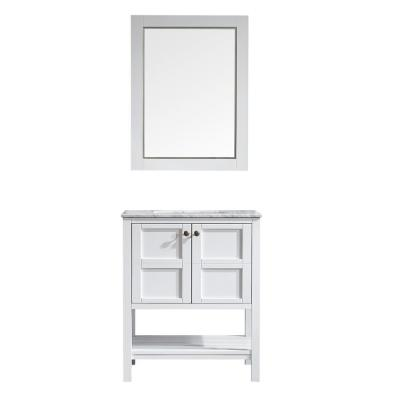 Florence 30 in. W x 22 in. D x 35 in. H Vanity in White with Marble Vanity Top in White with Basin and Mirror