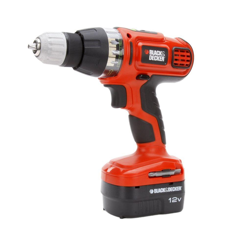 BLACK+DECKER 12-Volt NiCd Cordless 3/8 in. Smart Select Drill with Battery 1.5Ah and Charger