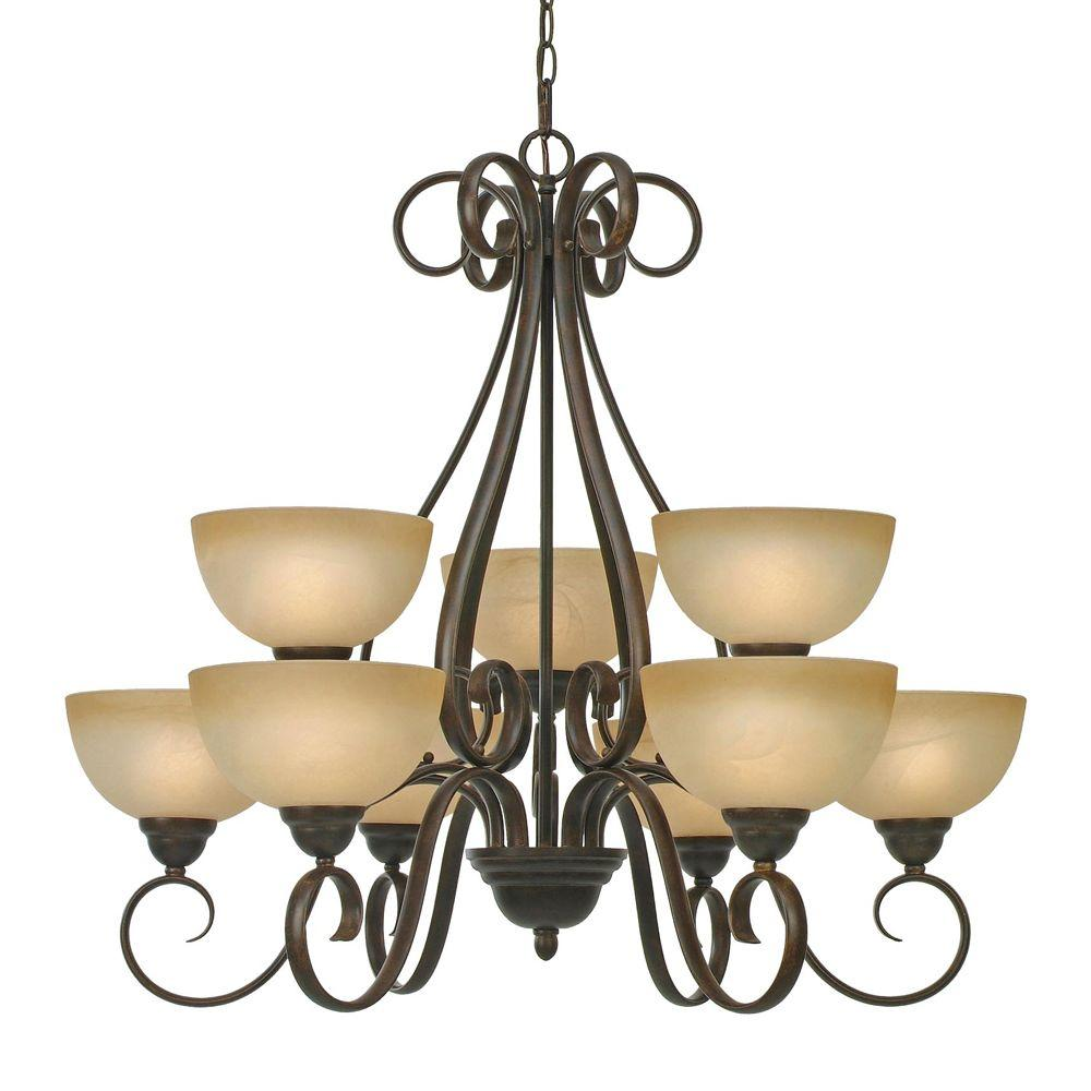 null Myers Collection 9-Light Peppercorn 2-Tier Chandelier