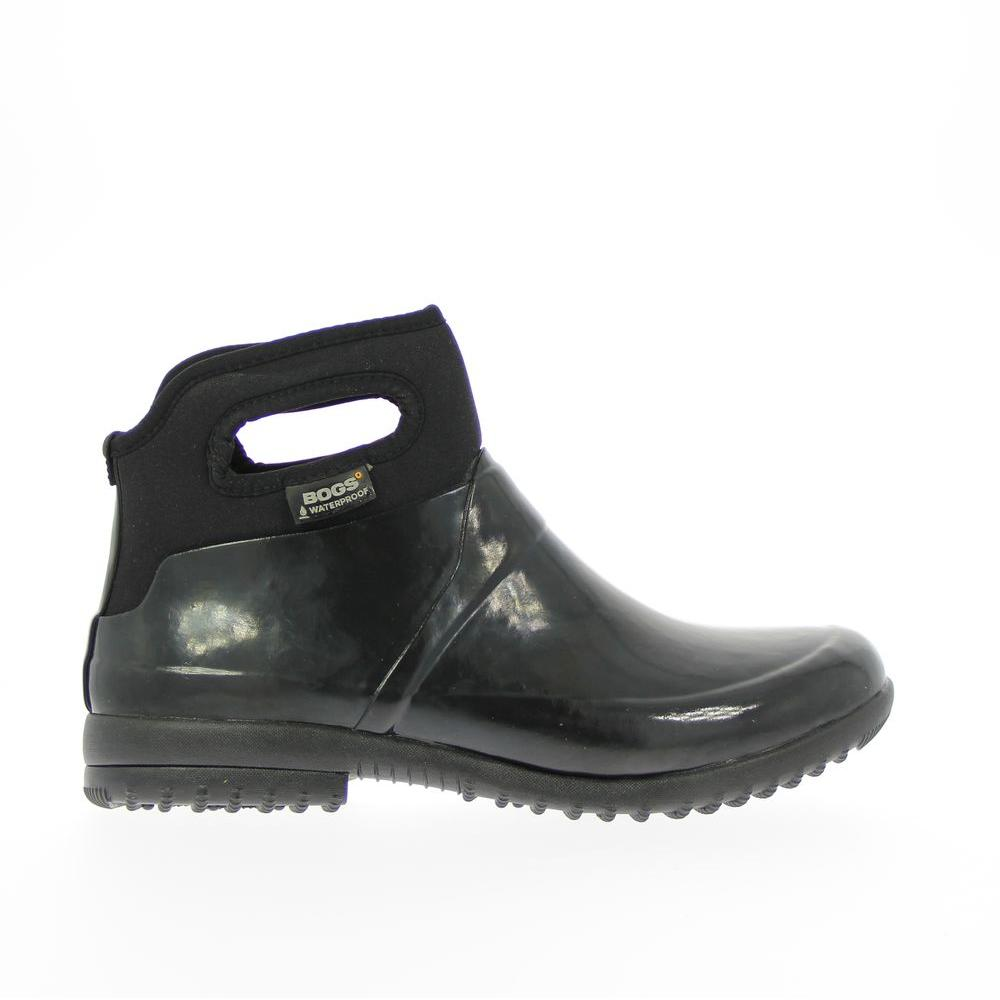 Bogs Seattle Solid Women Size 11 Black Waterproof Rubber Ankle Boot 71555 001 11 The Home Depot