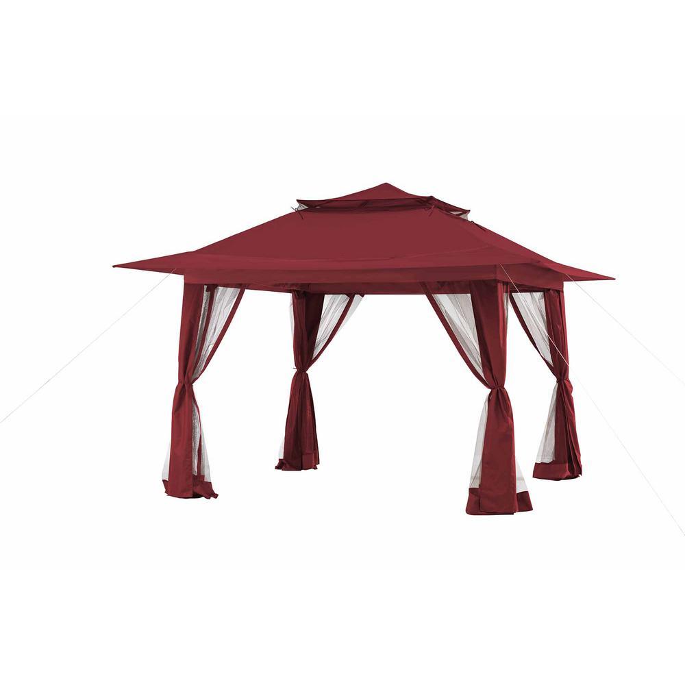 sunjoy 11 ft x 11 ft red pop up gazebo 110111007 the. Black Bedroom Furniture Sets. Home Design Ideas