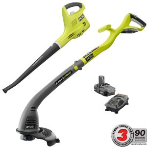 Ryobi ONE+ 18-Volt Lithium-Ion Cordless Trimmer/Edger and Blower/Sweeper Combo... by Ryobi