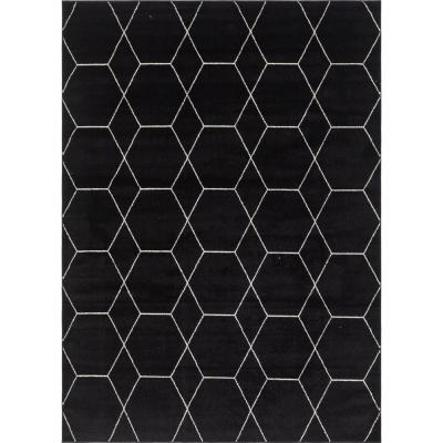 Trellis Frieze Black/Ivory 8 ft. x 11 ft. Geometric Area Rug