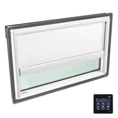 44-1/4 in. x 26-7/8 in. Fixed Deck-Mount Skylight w/ Laminated Low-E3 Glass and White Solar Powered Room Darkening Blind
