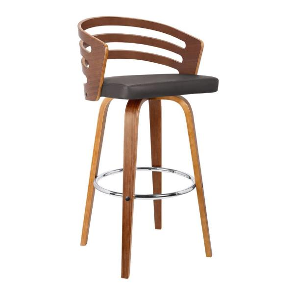 Jayden 26 in. Brown Faux Leather with Walnut Veneer Mid-Century Swivel Counter Height Barstool