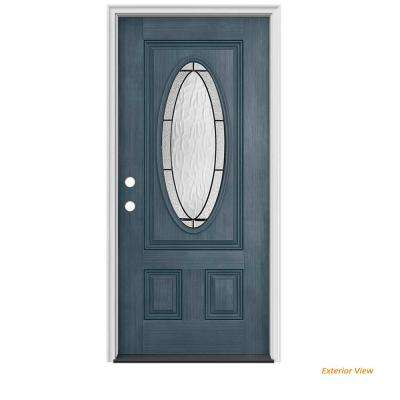 32 in. x 80 in. 3/4 Oval Lite Wendover Denim Stained Fiberglass Prehung Right-Hand Inswing Front Door