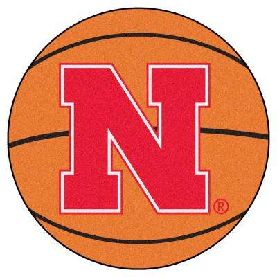 NCAA University of Nebraska Orange 2 ft. 3 in. x 2 ft. 3 in. Round Accent Rug