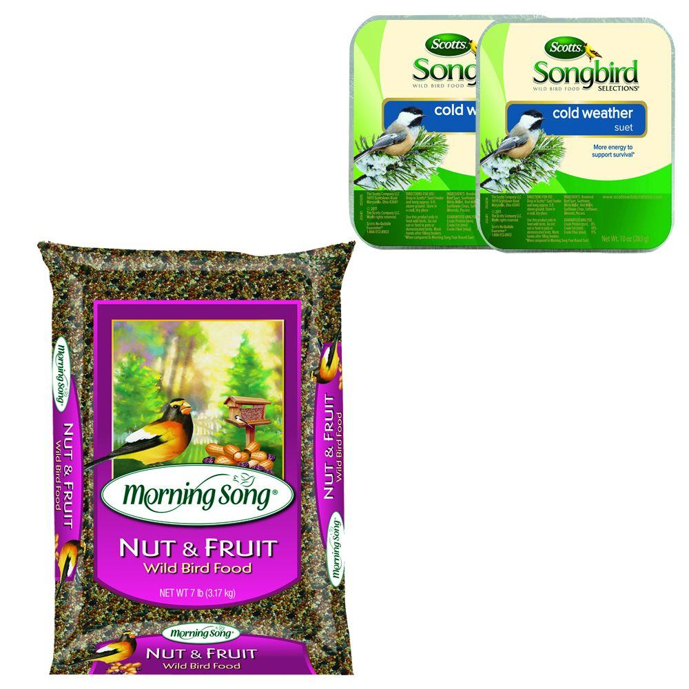Morning Song 15 lb. Nut and Fruit Blend + Free 2-Pack of Songbird Selections 10 oz. Cold Weather Suet-DISCONTINUED