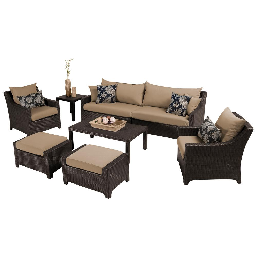 RST Brands Deco 8 Piece Patio Seating Set With Delano Beige Cushions