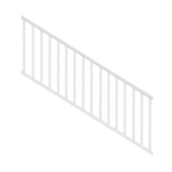 Traditional 8 ft. x 36 in. White PolyComposite Stair Rail Kit without Brackets