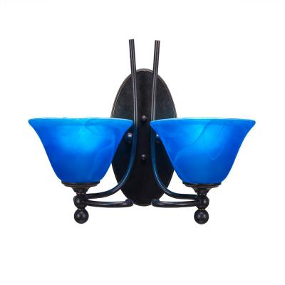 2-Light Dark Granite Sconce with Blue Marbleized Glass
