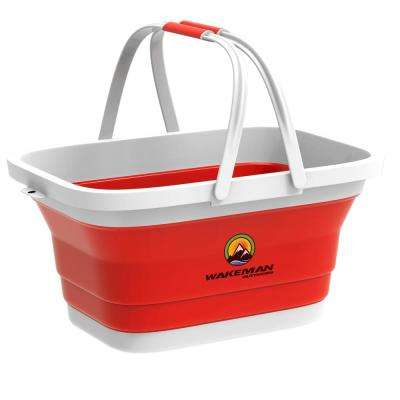 Red Collapsible Multi-Use Camping Basket with Comfort Grip Carrying Handles