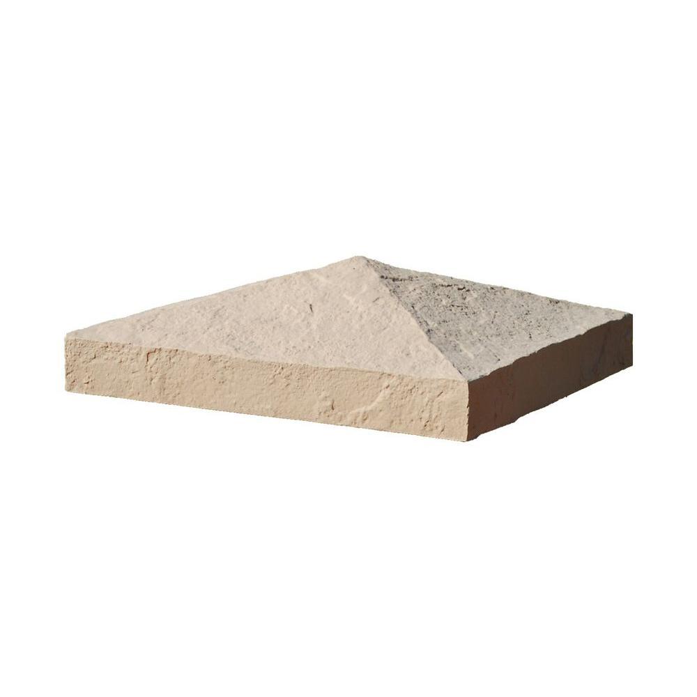 Slatestone 10-1/2 in. x 10-1/2 in. x 3-1/2 in. Buff Faux Polyurethane Stone Post Cover Cap